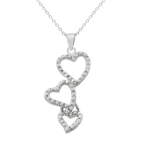"0.01 CT.T.W. Round-Cut Diamond Accent Prong Set Triple Heart Drop Necklace Silver Plated (18"")"