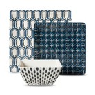 Threshold™ Square 12 Piece Honeycomb Dinnerware Set - Blue
