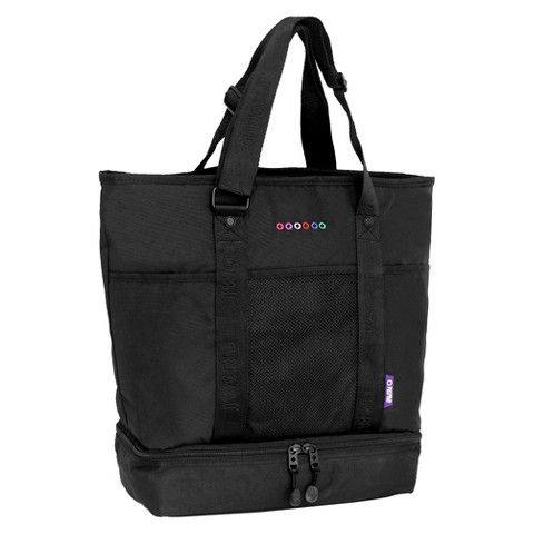 J World Elaine Tote Bag with Insulated Lunch Compartment - Black