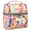 JWorld Corey Lunch Bag with Front Pocket, Squares Neon