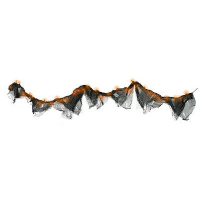 Image of Halloween 35Lt String Light Hanging Gauze Garland - Black/Orange