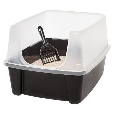 IRIS Open Top Litter Box with Scoop, Black