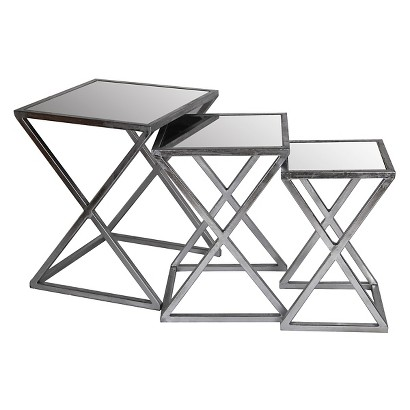 Iron and Glass X-Base Accent Tables Set of 3