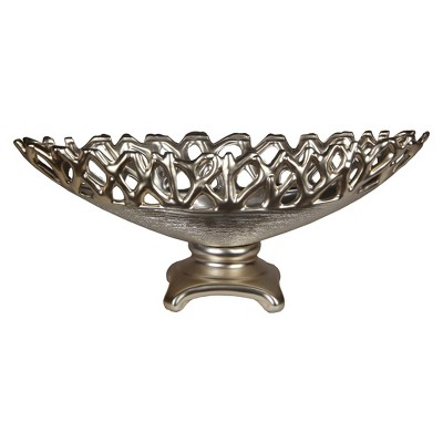 Decorative Footed Ceramic Bowl - Silver