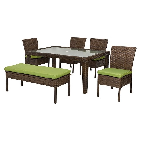Belmont Wicker 6 Piece Patio Dining Set Tar