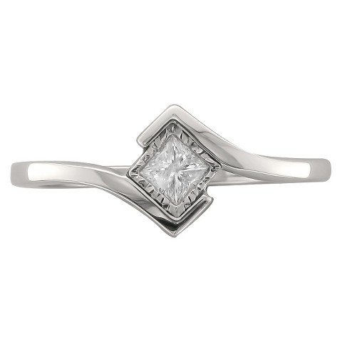 1/5 CT T.W. Princess Bezel Solitaire Diamond Ring 14k White Gold  (G-H, SI2-I1)