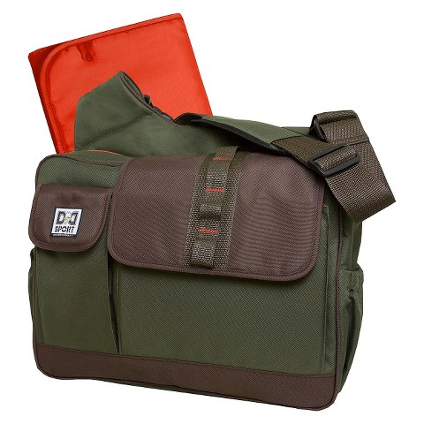 Diaper Dude Sport Flap Messenger Diaper Bag - Olive/Brown