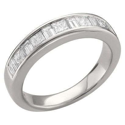 1ct TDW Princess and Baguette Channel Wedding Band 14k White Gold  (G-H, SI1)