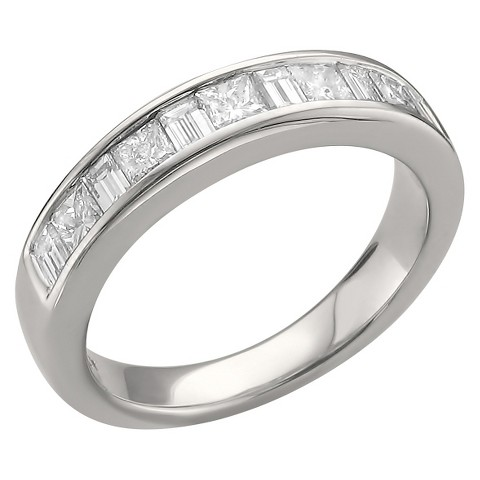 1 CT T.W. Princess and Baguette Channel Wedding Band 14k White Gold  (G-H, SI1)