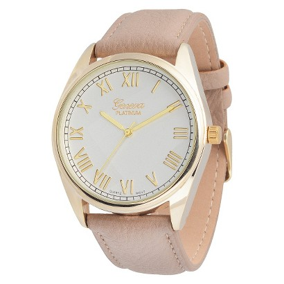 Women's Geneva Platinum Round Face Watch - Brown