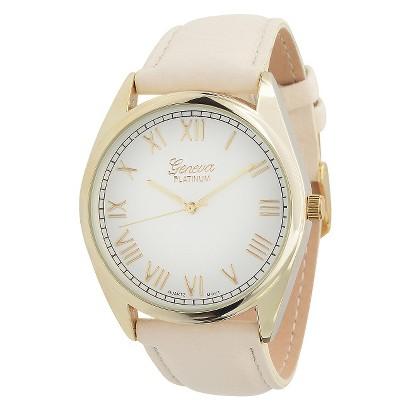 Women's Geneva Platinum Round Face Watch - Cream