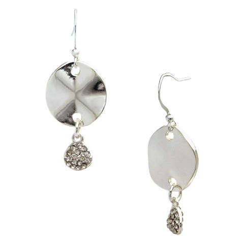 Women's Drop Earring with Wavy Oval Drop and Round Pave Circle Drop - Silver/Clear