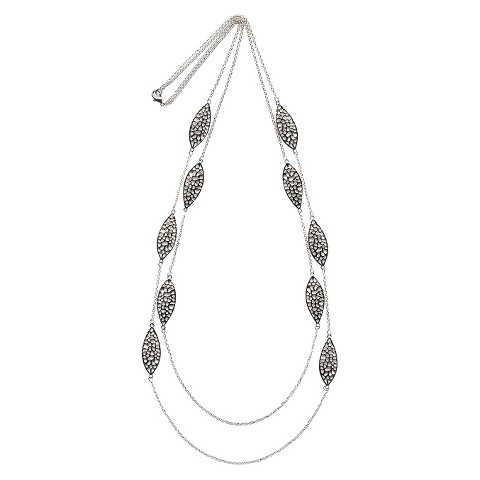 "Women's 2 Row Necklace with Cutout Rounded Diamond Shaped Stations - Silver (36 1/2"")"