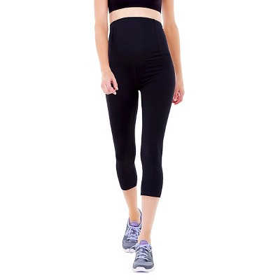 BeMaternity® by Ingrid & Isabel® Active Black Capri Pant with Crossover Panel XXL