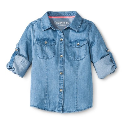 Genuine Kids™ Infant Toddler Girls' Chambray Buttondown - Blue 5T