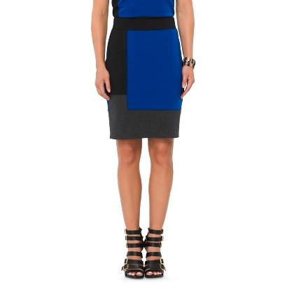 Mossimo® Women's Meet and Greet Ponte Skirt - Athens Blue/Black/Gray