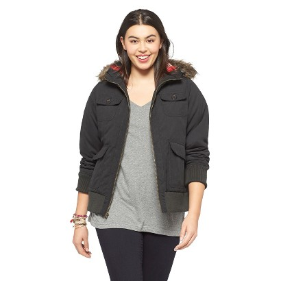 Plus Size Hooded Bomber Jacket-Mossimo Supply Co.