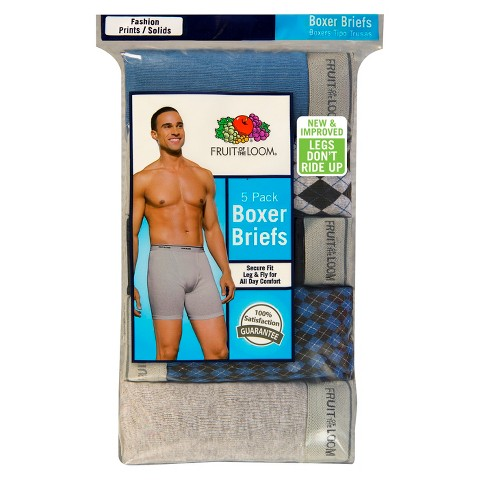 Fruit of the Loom Men's 5 pack Fashion Print Solid Boxer Brief