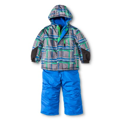 R-Way by ZeroXposur Infant Toddler Boys' Plaid Puffer Jacket and Snow Bibs Set