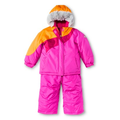 R-Way by ZeroXposur Infant Toddler Girls' Puffer Jacket with Faux Fur Hood and Snow Bibs Set