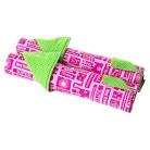 "Laurent Doll Hot Pink & Green Apple Double 18"" Doll Bed Linen Set"