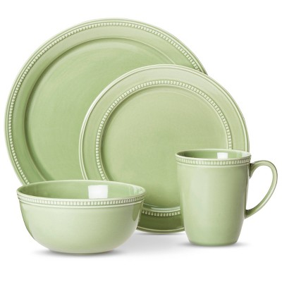Threshold™ Camden Traditional Round 16 Piece Dinnerware Set – Green
