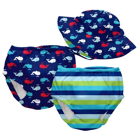 I Play Toddler Boys' Two Swim Diapers with Matching Reversible Floppy Hat Set