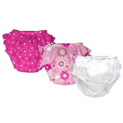 I Play Infant Toddler Girls' 3-Pack Floral, Solid and Polka Dot Swim Diaper Set