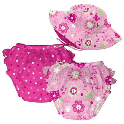 I Play Infant Toddler Girls' 3-Pack Reversible Floppy Hat and Swim Diaper Set