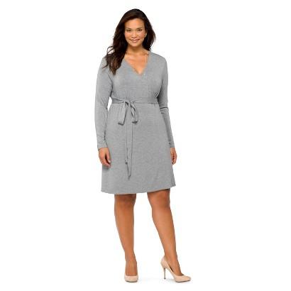 Women's Plus Size Long Sleeve Knit Wrap Dress