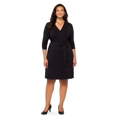 Women's Plus Size Long Sleeve Knit Wrap Dress Black 4X