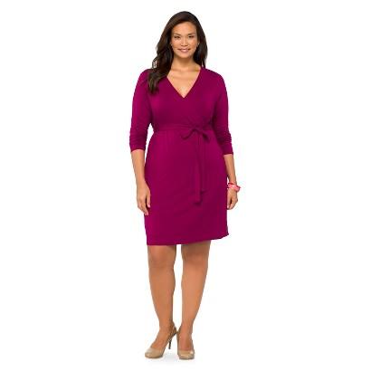 Women's Plus Size Long Sleeve Knit Wrap Dress Berry