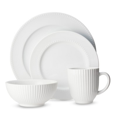 Threshold™ Vertical Lines 16 Piece Dinnerware Set - White