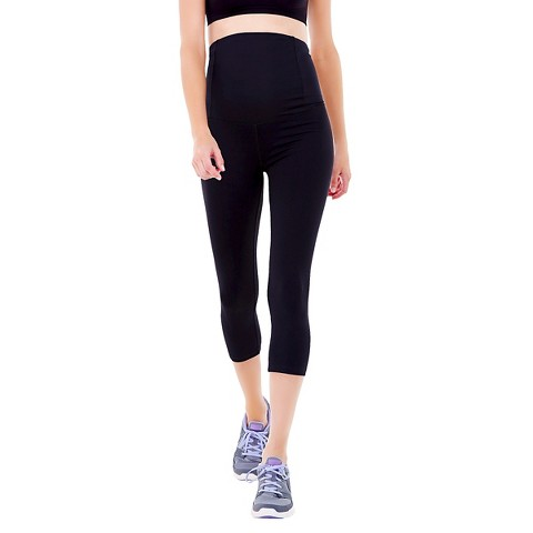 BeMaternity® by Ingrid & Isabel® Active Black Capri Pant with Crossover Panel