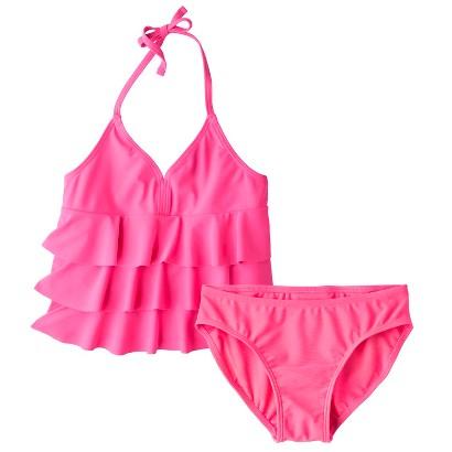 Girls' 2-Piece Ruffled Halter Tankini Swimsuit Set