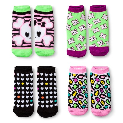Xhilaration® Girls' 4pk Skulls No Show Socks