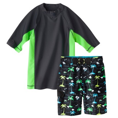 Cherokee® Boys' Short-Sleeve Rashguard and Palm Tree Swim Trunk Set