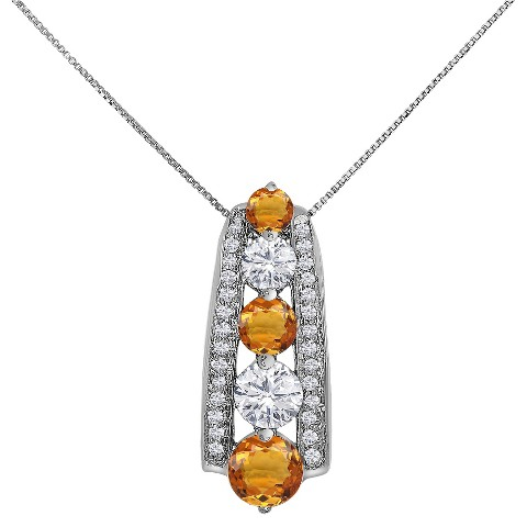 """3.22 CT.T.W. Round-Cut Citrine and Created Sapphire Pendant in 14K Gold over Silver (18"""")"""