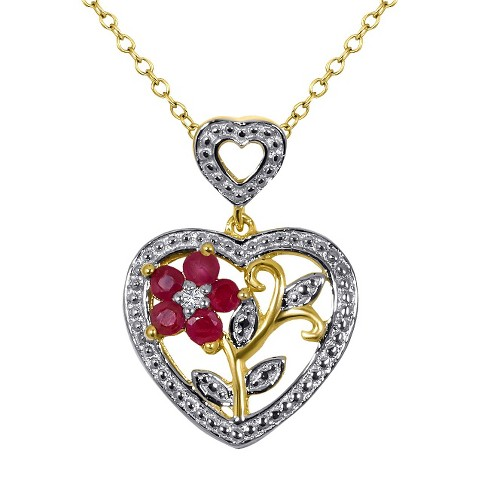 "0.25 CT.T.W. Ruby and 0.01 CT.T.W. Diamond Round-Cut Heart Pendant 14K Gold over Silver I-J I2-I3 (18"")"