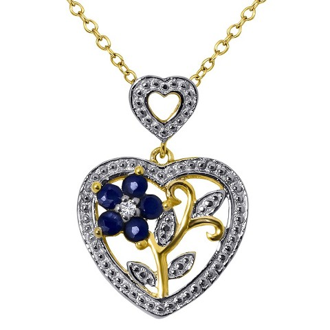 "0.25 CT.T.W. Sapphire & 0.01 CT.T.W. Diamond Round-Cut Heart Pendant 14K Gold over Silver I-J I2-I3(18"")"