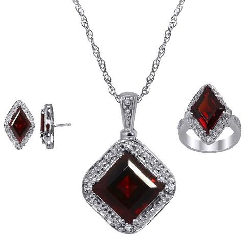 "3.30 CT.T.W. Princess-Cut Garnet & .10 CT.T.W. Diamond Round-Cut Jewelry Set in Silver Size 7 (18"")"