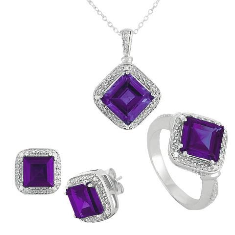 "3.30 CT.T.W. Princess-Cut Simulated Emerald & 0.10 CT.T.W. Diamond Round-Cut Jewelry Set Silver 7 (18"")"