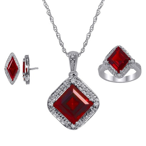 "3.30 CT.T.W. Princess-Cut Created Ruby 0.10 CT.T.W. Diamond Round-Cut Jewelry Set in Silver Size 7 (18"")"
