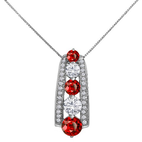 "3.22 CT.T.W. Round-Cut Garnet and Created Sapphire Pendant in 14K Gold over Silver(18"")"