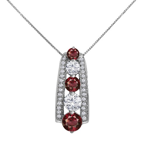 """3.22 CT.T.W. Round-Cut Rhodolite and Created Sapphire Pendant in 14K Gold over Silver (18"""")"""