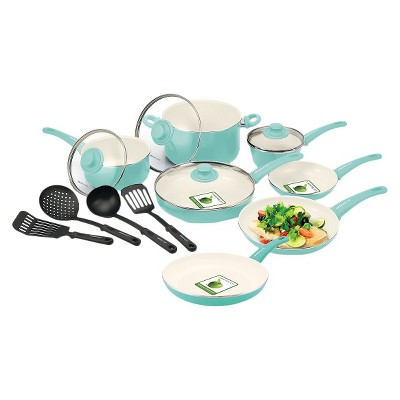 GreenLife 15 Piece Ceramic Cookware Set - Turquoise