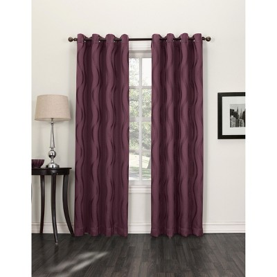 "Sun Zero Percy Jacquard Waves Blackout Curtain Panel - Shiraz (52x84"")"