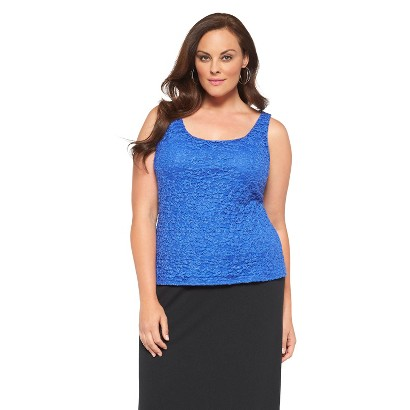 Women's Plus Size Layering Lace Cami Top Blue
