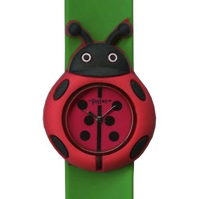 Girls' Fusion Ladybug Slap Bracelet Watch - green/red