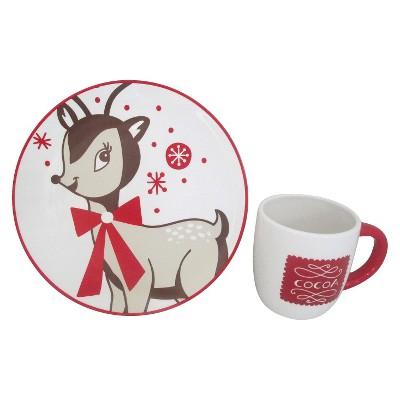 Threshold™ Earthenware Plate & Mug Set - Reindeer